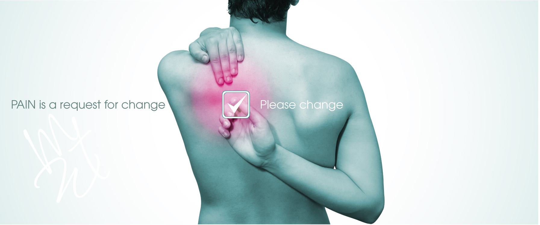 man clicking please change button where his back is sore. pain is a request for change. please change